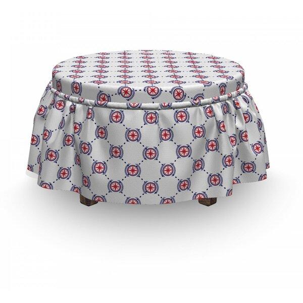 Compass Diamond Windrose Leaf 2 Piece Box Cushion Ottoman Slipcover Set By East Urban Home