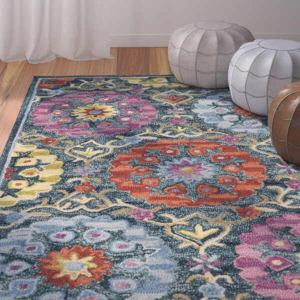Suzani Hand Hooked Blue/Yellow Area Rug by Bungalow Rose