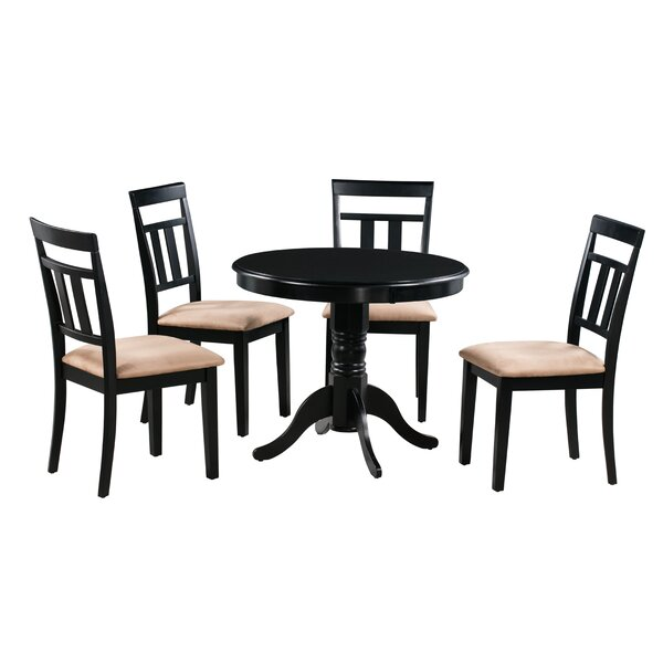 Dahlquist 5 Piece Solid Wood Dining Set by August Grove