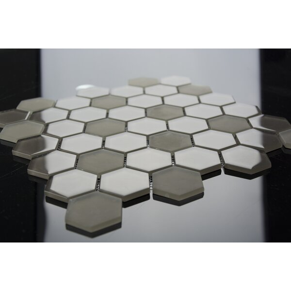 Pure Hexagon 2 x 2 Glass Mosaic Tile in Mocha by Madrid Ceramics