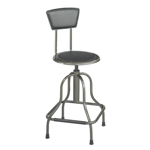Safco Diesel Series Industrial Stool w/Back, High Base, Pewter Leather Seat/Back Pad