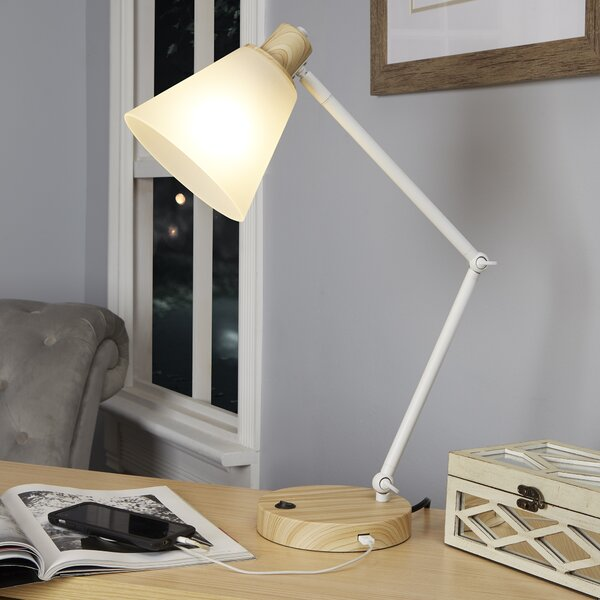 Ammon Metal 17 Desk Lamp with USB Port by Ivy Bronx