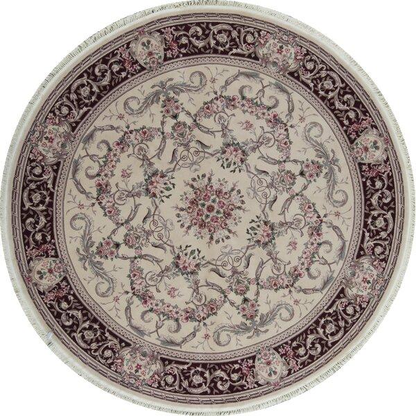 Round Oriental Hand-Knotted Shag 8' Wool Beige/Wine Area Rug