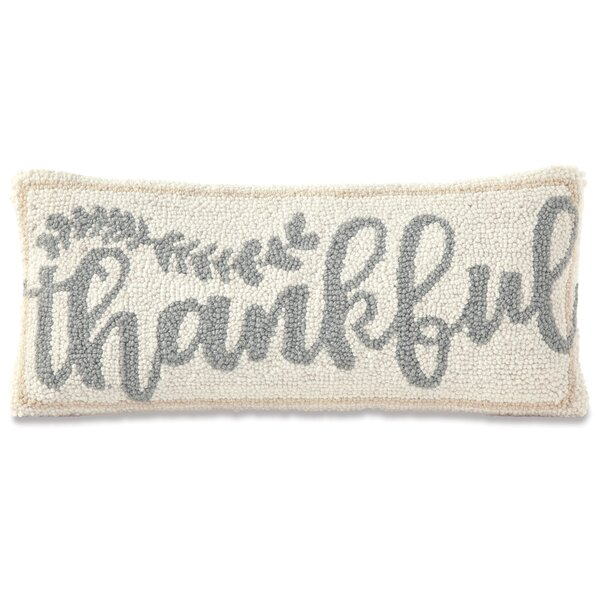 Thankful Hooked Wool Lumbar Pillow by Mud Pie™