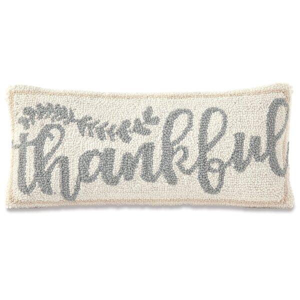 Thankful Hooked Wool Lumbar Pillow by Mud Pie™