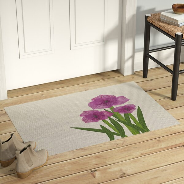 Amanda Amaryllis Floral Print Purple/Green Indoor/Outdoor Area Rug by August Grove