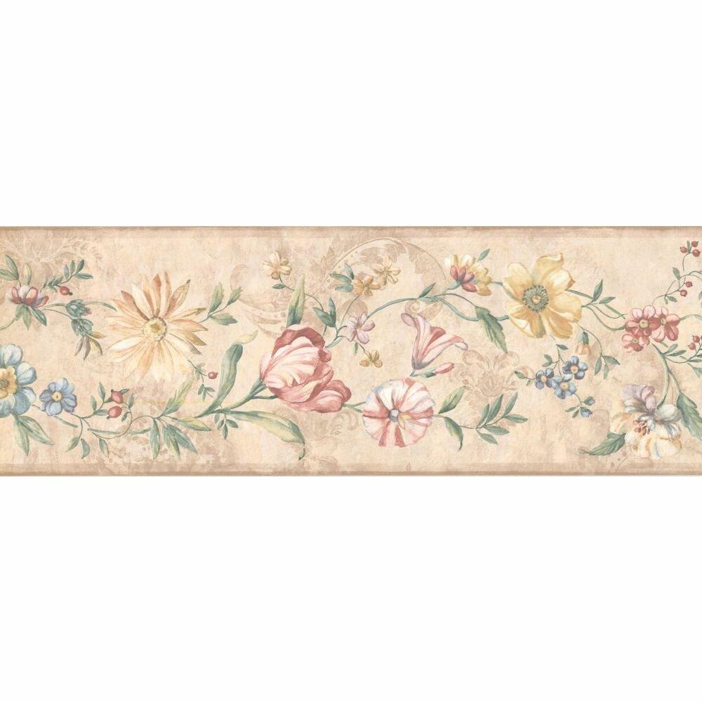 August Grove Jowett Floral 15 L X 6 87 W Wallpaper Border Wayfair