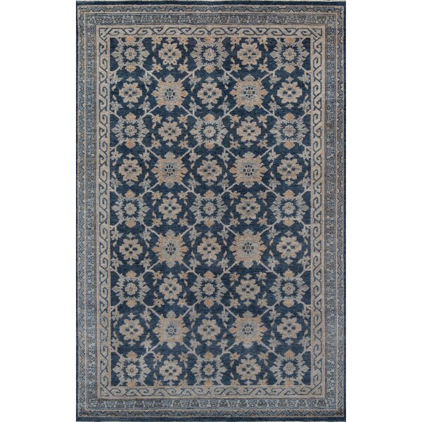 Harmoni Hand-Knotted Wool Blue Area Rug by Bungalow Rose