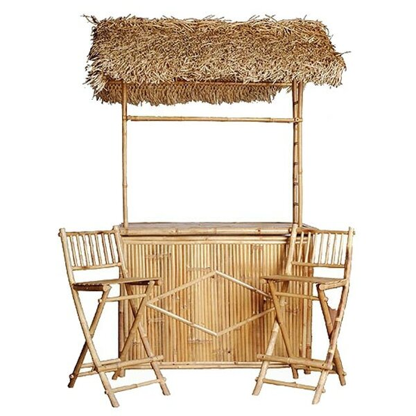 Whobrey Bamboo 3 Piece Tiki Bar Set with Palapa Roof by Bay Isle Home