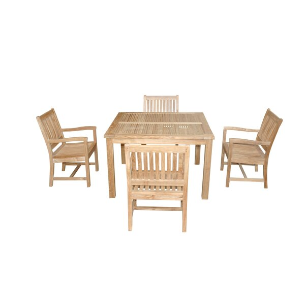 Bourassa 5 Piece Teak Dining Set by Freeport Park