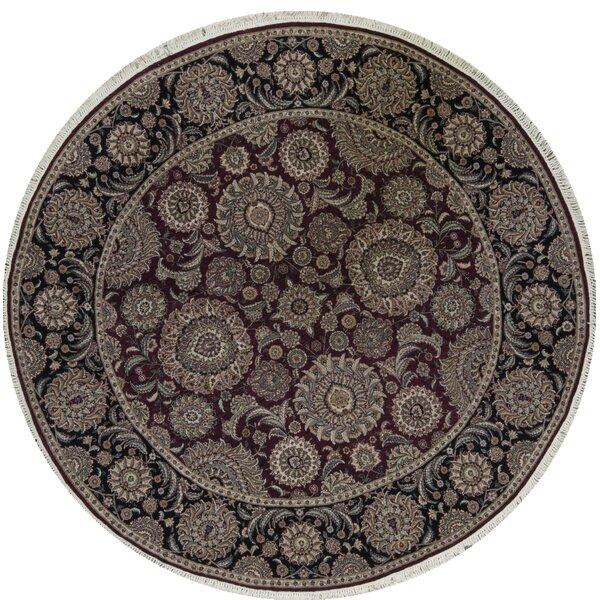 Round Manchuria Oriental Hand-Knotted 8' x 8' Wool Wine/Black Area Rug