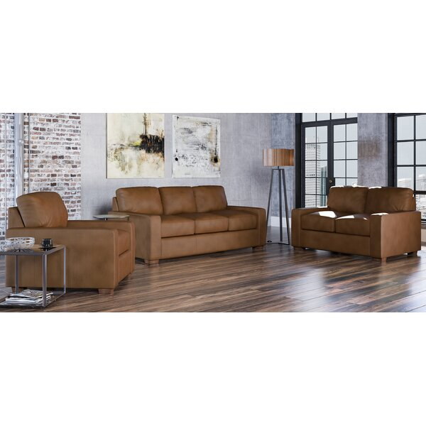 Blanca 3 Piece Leather Living Room Set by Westland and Birch