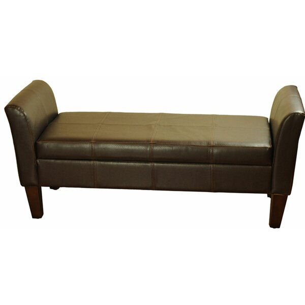 Stamps Faux Leather Storage Bench by Brayden Studio