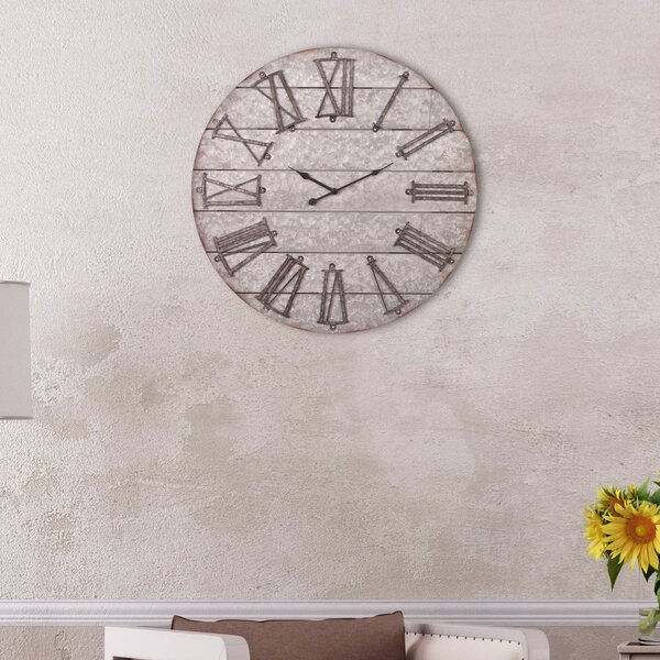 Oversized Avelina Rustic Frameless 28 Wall Clock by Gracie Oaks