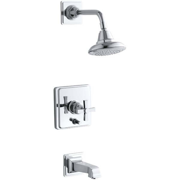 Pinstripe Pure Rite-Temp Pressure-Balancing Bath and Shower Faucet Trim with Cross Handle, Valve Not Included by Kohler