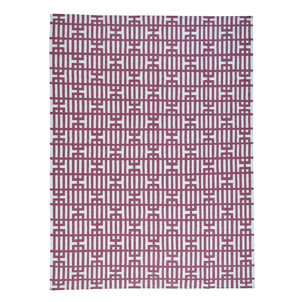 Flat Weave Reversible Kilim Oriental Hand-Knotted Red Area Rug by Ivy Bronx