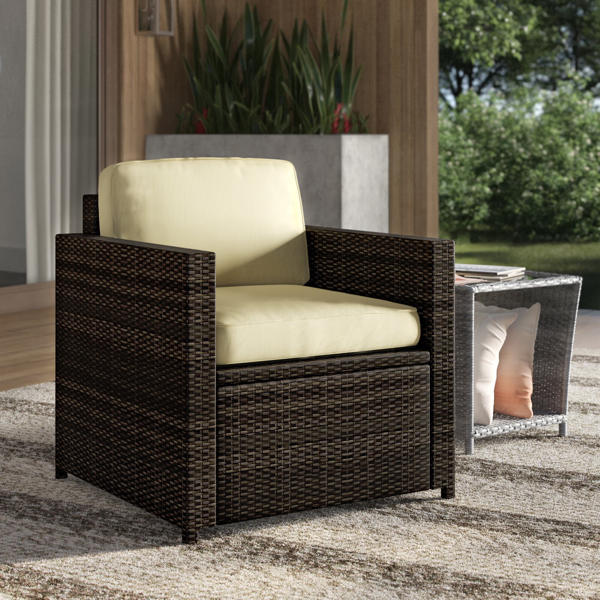Outdoor Wicker Deep Seating Patio Chair