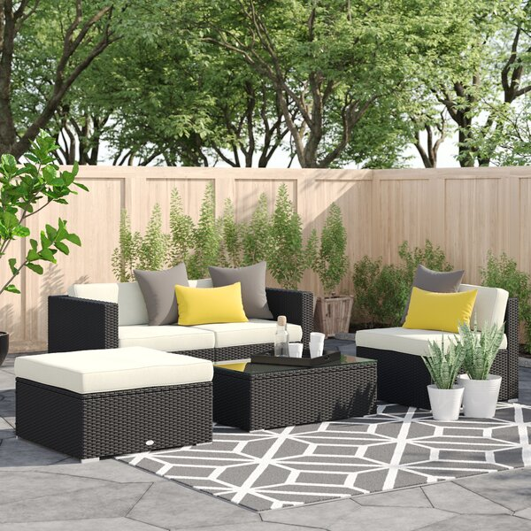 Hazen 5 Piece Rattan Sectional Seating Group with Cushions by Zipcode Design