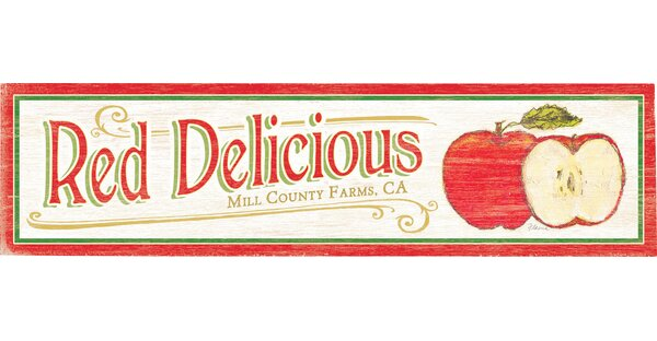 Personalized Red Delicious Drawing Print on Wood by Artehouse LLC