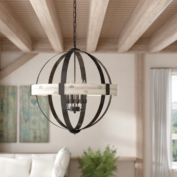 Cannella 6 - Light Candle Style Globe Chandelier With Wood Accents By Charlton Home