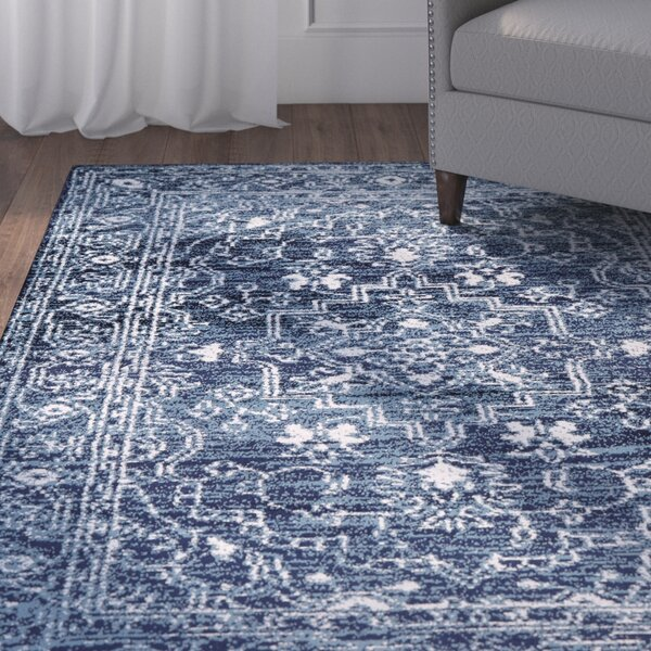 Buchan Medallion Navy/Ivory Area Rug by Charlton Home