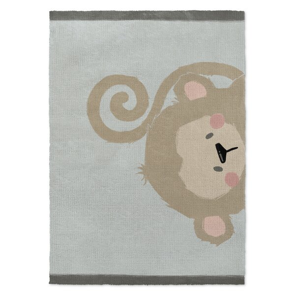 Alsace Monkey Brown/Green Area Rug by Harriet Bee