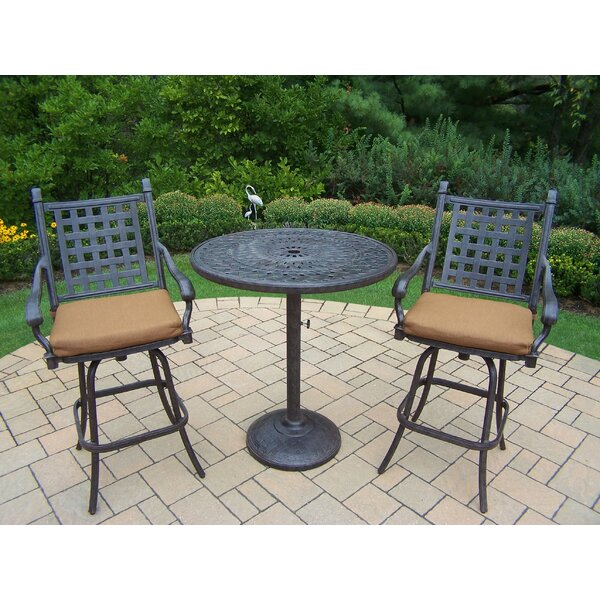 Vandyne 3 Piece Bar Height Dining Set with Cushions by Darby Home Co