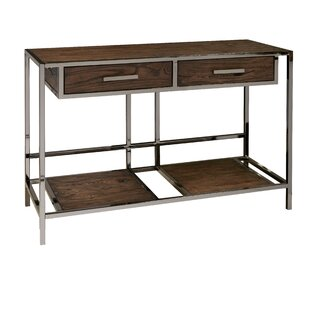 Falkner Modern Industrial Style Wood and Smoked Sofa Console Table