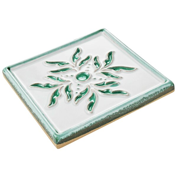 Frisia Taco Evoli 5.25 x 5.25 Ceramic Decorative Accent Tile in White/Green/Teal (Set of 3) by EliteTile