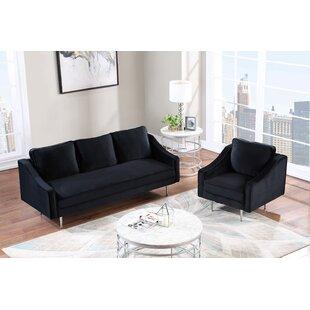 Yasmin 2 Piece Velvet Living Room Set by Mercer41