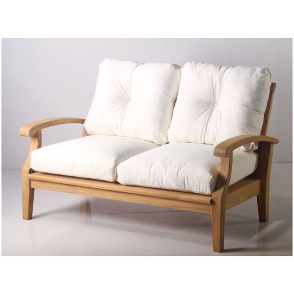 Lowery Teak Loveseat with Sunbrella Cushions by Rosecliff Heights