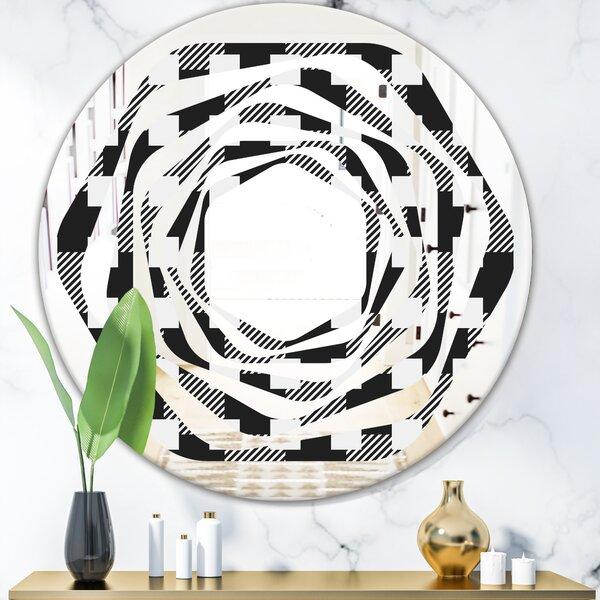 Geometric Monochrome Pattern II Whirl Modern & Contemporary Frameless Wall Mirror