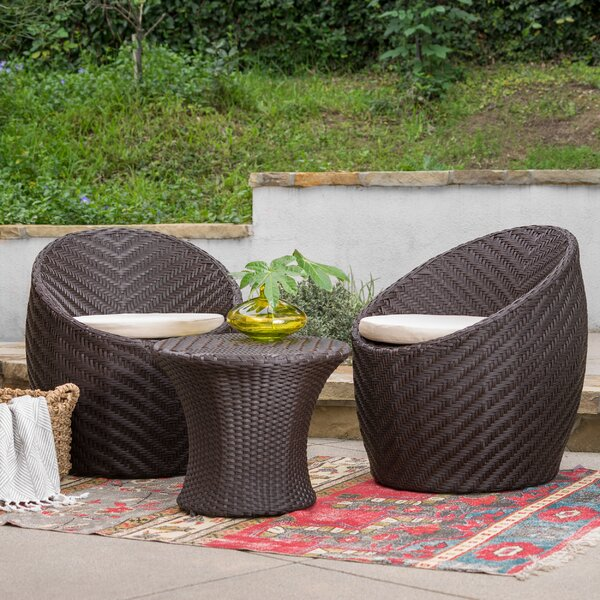 Cabott 3 Piece Bistro Set with Cushions by Bungalow Rose Bungalow Rose