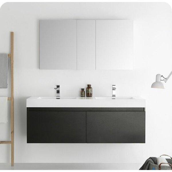 Senza 60 Mezzo Double Wall Mounted Modern Bathroom Vanity Set with Mirror by Fresca