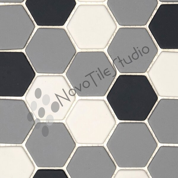 Portici 1.5 x 1.5 Glass Mosaic Tile in White/Gray by NovoTileStudio
