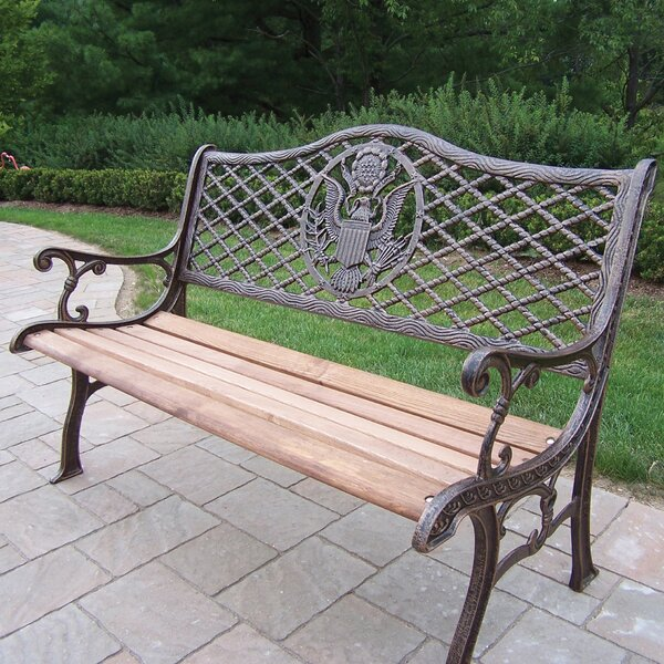 American Eagle Wood and Cast Iron Park Bench by Oakland Living Oakland Living