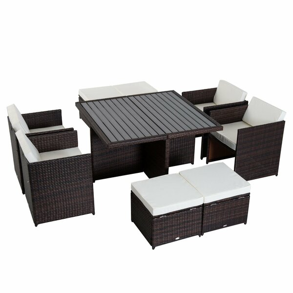 Gowan 9 Piece Dining Set with Cushions by Ebern Designs