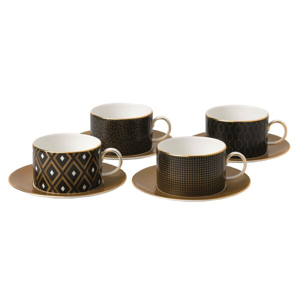 Arris 4 Piece Accent Teacup and Sauce Set by Wedgwood