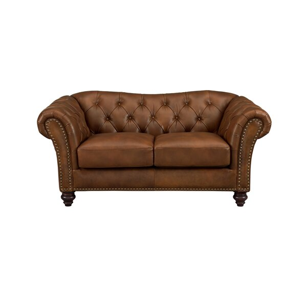Tayla Craft Leather Loveseat by Three Posts