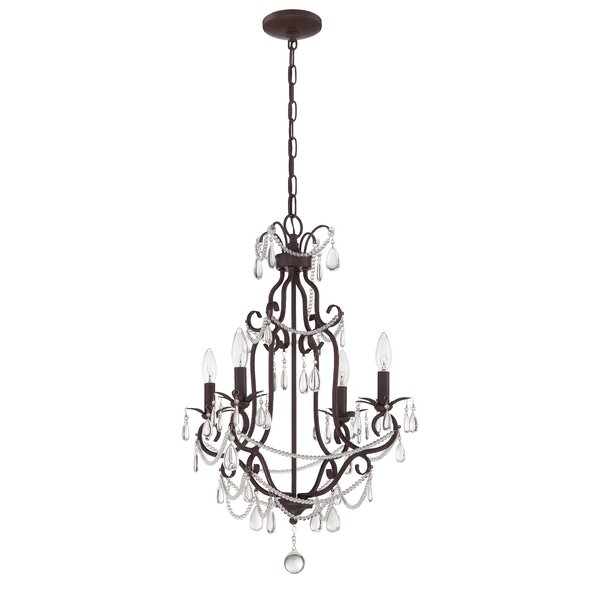 Birrell 4 - Light Candle Style Empire Chandelier With Crystal Accents By Rosdorf Park