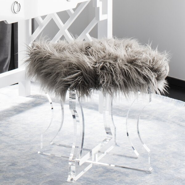 Lauber Sheepskin Accent Stool by Rosdorf Park