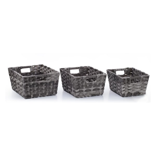 Nesting Rectangular Shelf Storage 3 Piece Wicker/Rattan Basket Set by Rosecliff Heights