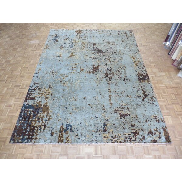 One-of-a-Kind Pellegrino Modern Abstract Hand-Knotted Wool Aqua Blue Area Rug by Bloomsbury Market