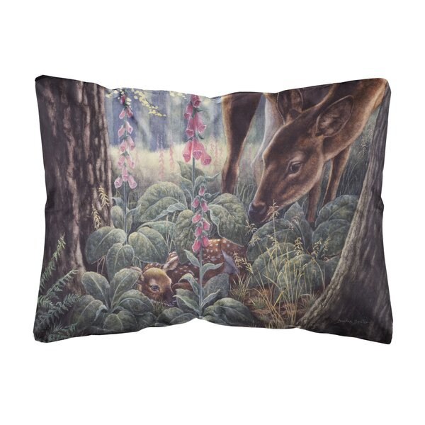 Ryant Doe and Fawn Deer Fabric Indoor/Outdoor Throw Pillow by Winston Porter