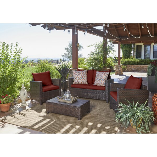 Belva 4 Piece Rattan Sofa Set With Cushions By Beachcrest Home