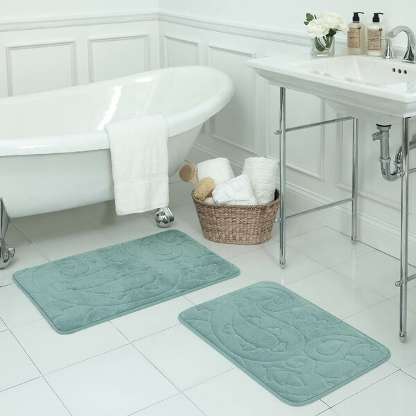 Pelton 2 Piece Micro Plush Memory Foam Bath Mat Set by Bath Studio