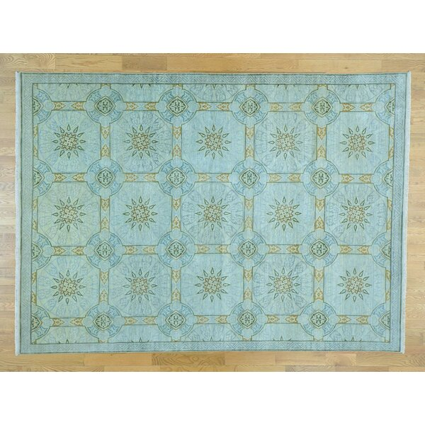 One-of-a-Kind Bouck Arts Crafts Hand-Knotted Blue Wool Area Rug by Isabelline