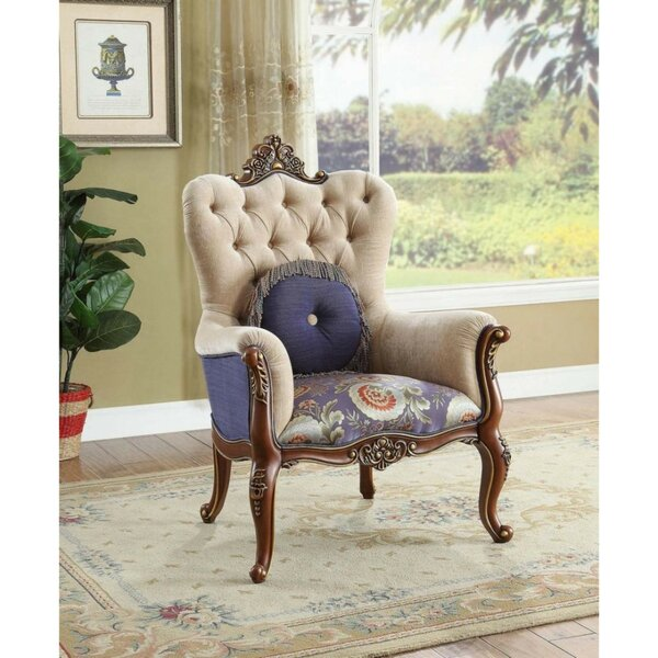 Strout Wooden Armchair with Pillow by Astoria Grand