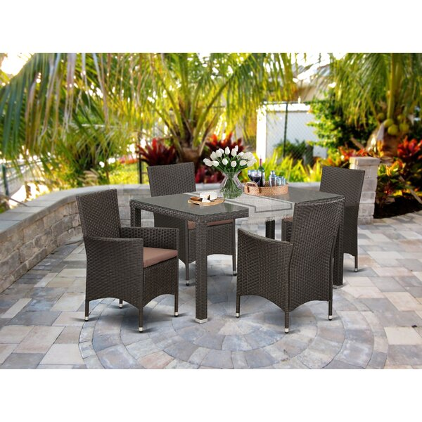 Paynesville Courtyard 5 Piece Dining Set with Cushions by Wrought Studio