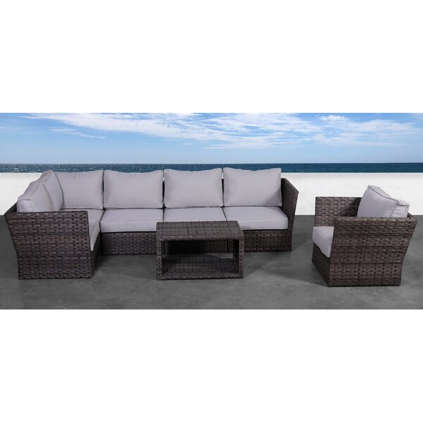 Cochran 7 Piece Rattan Sectional Seating Group with Cushions by Rosecliff Heights Rosecliff Heights